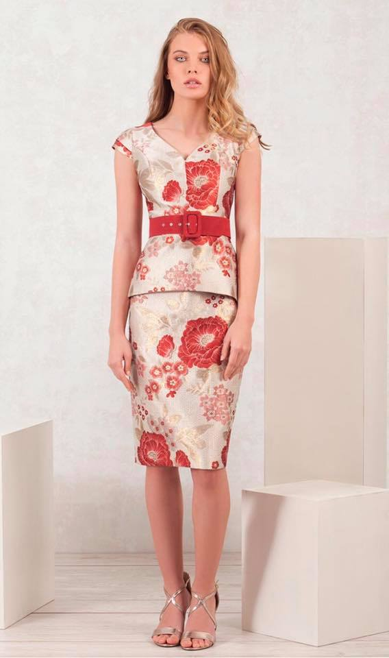 Moncho Heredia Dress In Cream & Royal Red