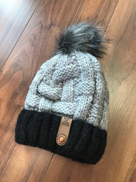 Designer Inspired PomPom Hat In Grey/Black