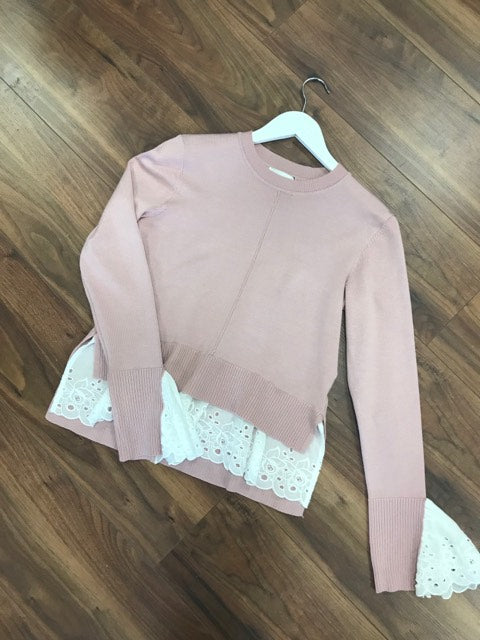 Flamant Rose Jumper In Pale Pink