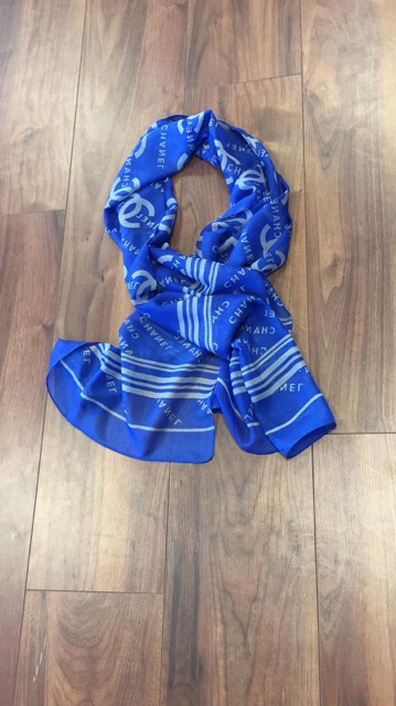 Designer Inspired Neck Silk Scarf By Chanel In Blue