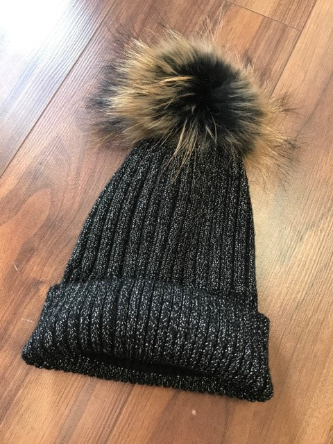 Designer Inspired PomPom Hat In Grey Glitter
