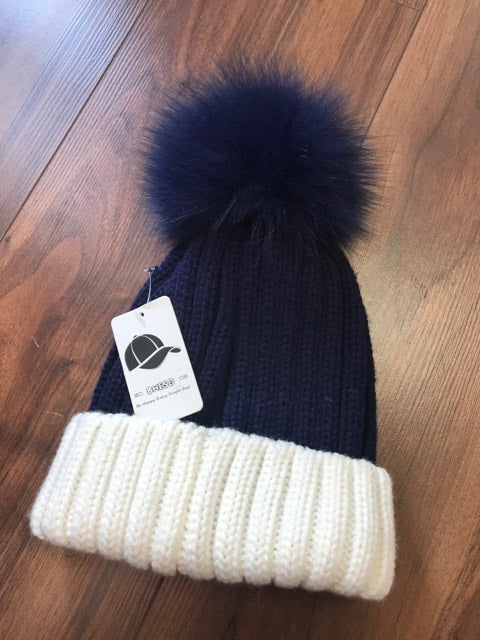 Designer Inspired PomPom Hat In Navy/White