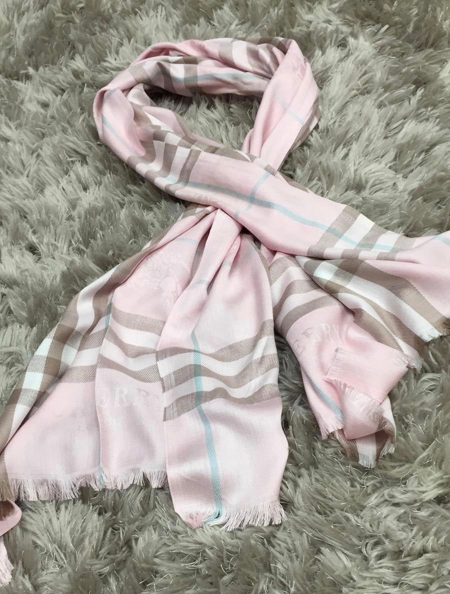 Designer Inspired Burberry Scarf In Baby Pink