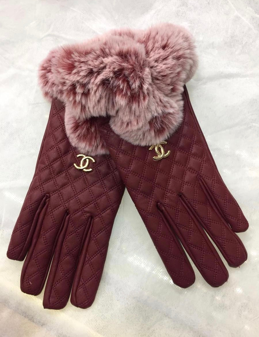 Designer Inspired Gloves By CHANEL In Red Leather With Fur