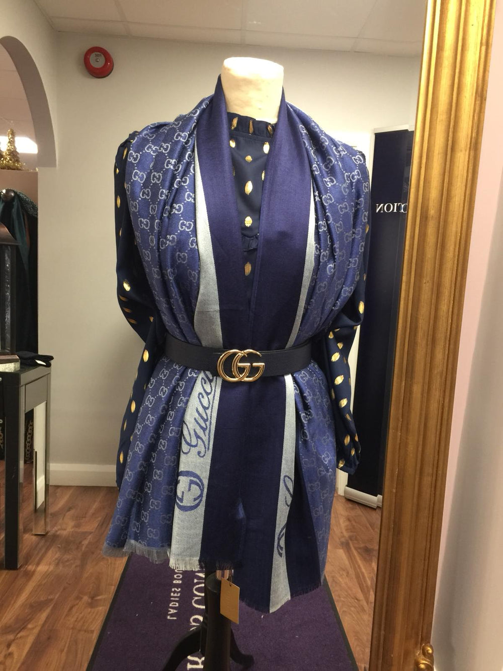 Designer Inspired Scarf By GUCCI In Blue
