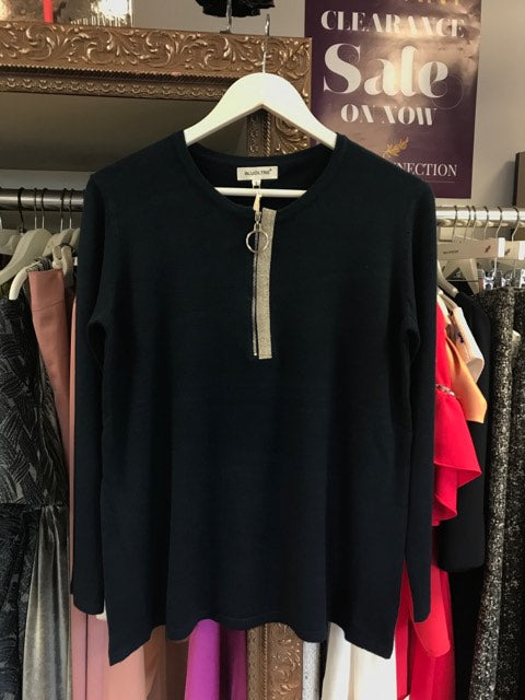 Bluoltre Zip Front Jumper In Navy