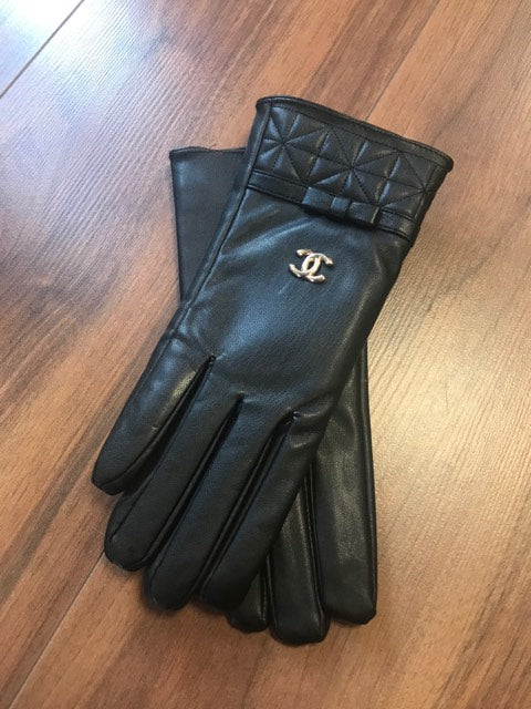 Designer Inspired Gloves By Chanel In Black Leather