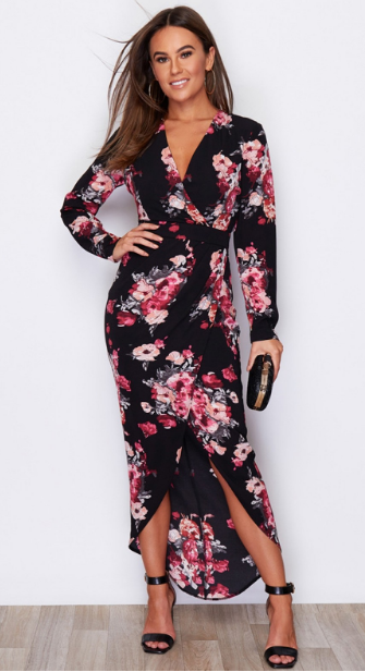 Girl In Mind Indie Wrap Floral Maxi Dress In Black
