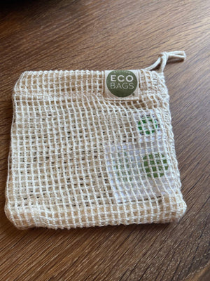 Cotton soap bag on its mesh side