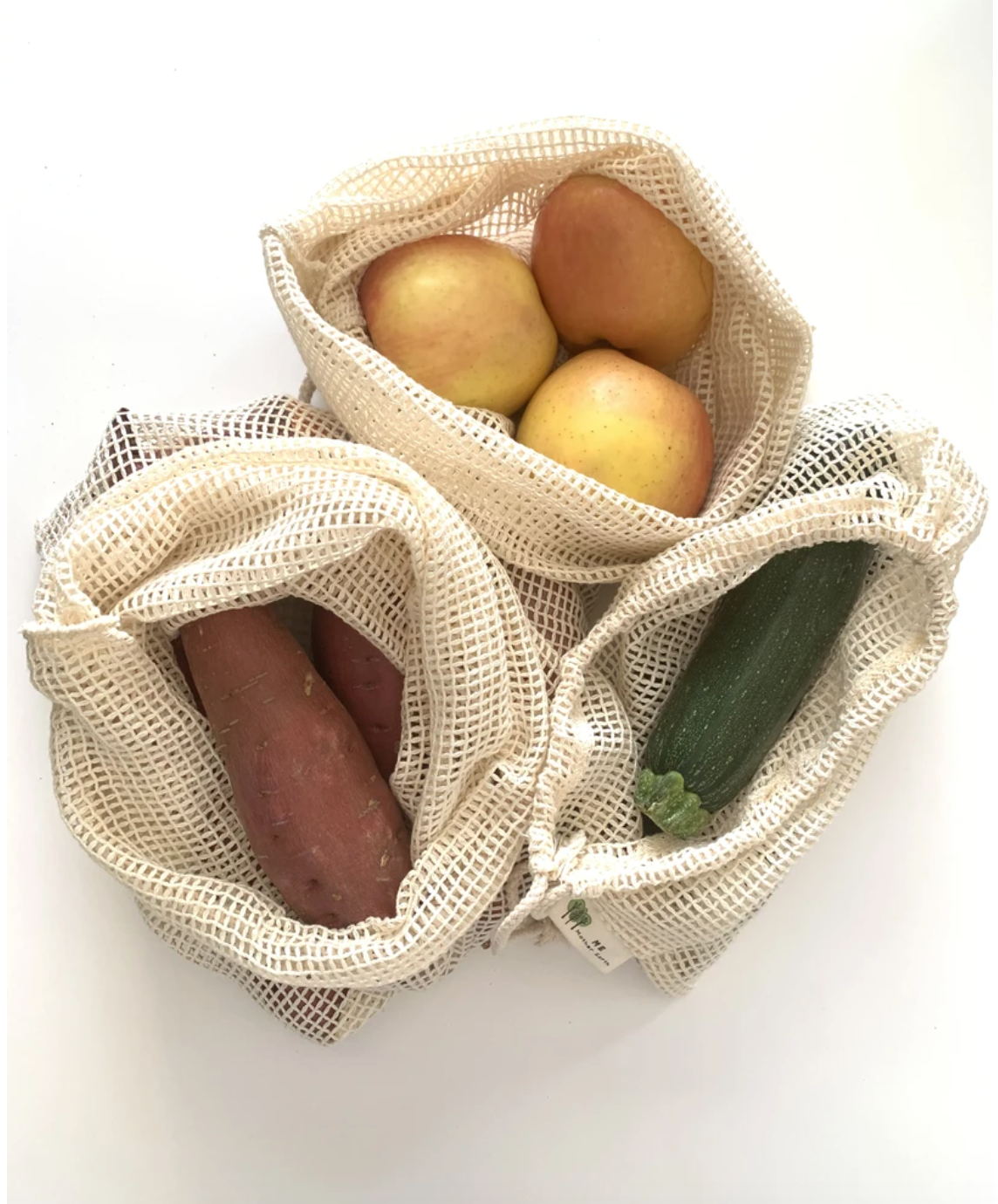 Set of 3 mesh cotton produce bags