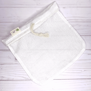 Organic cotton nut milk bag with drawstring to make your own nut milk