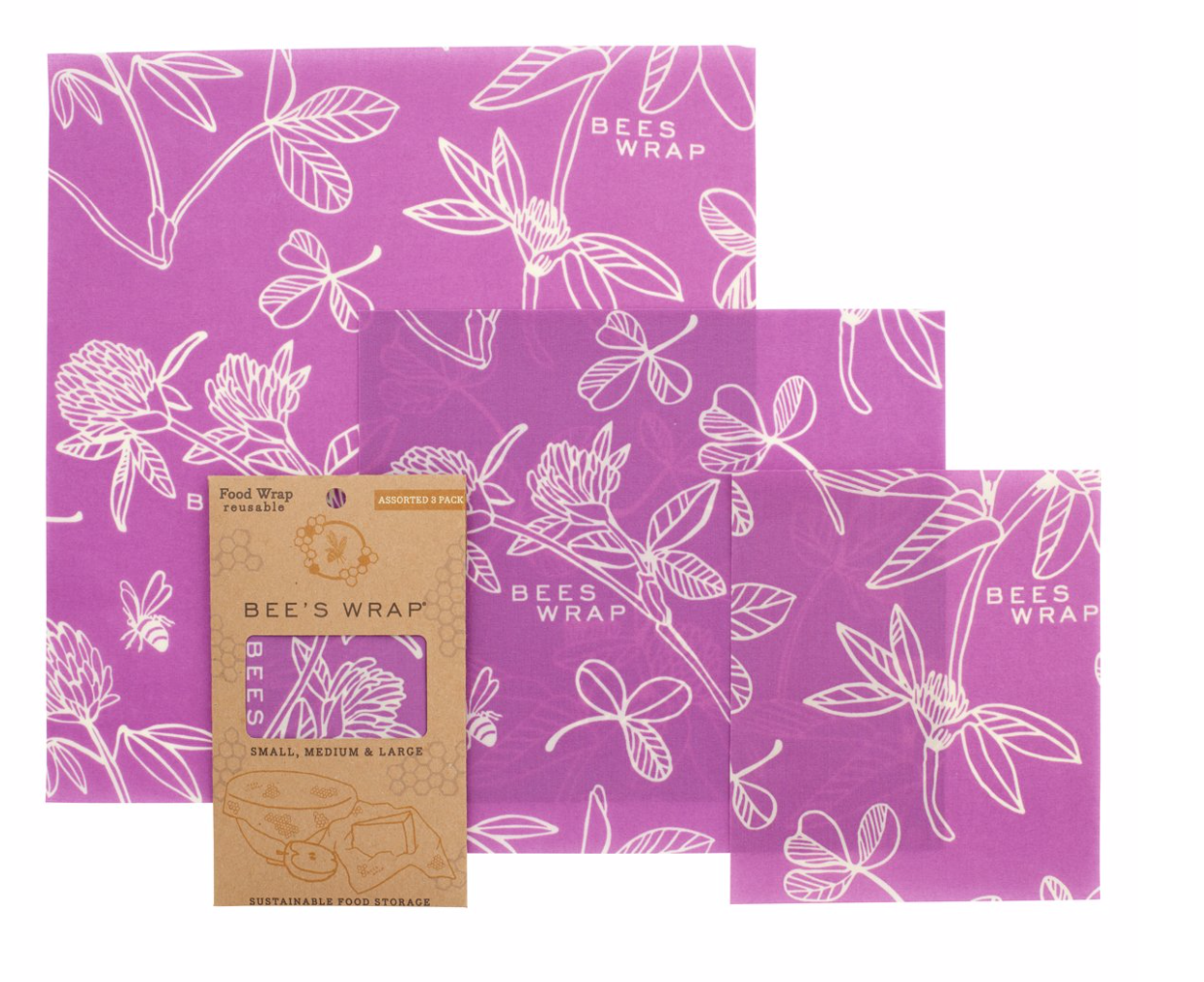 Bee's Wrap - Clover Print - Set of 3 sizes (S, M, L)