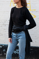 Load image into Gallery viewer, Nina Ricci Vintage Black Cashmere and Silk Knot Top