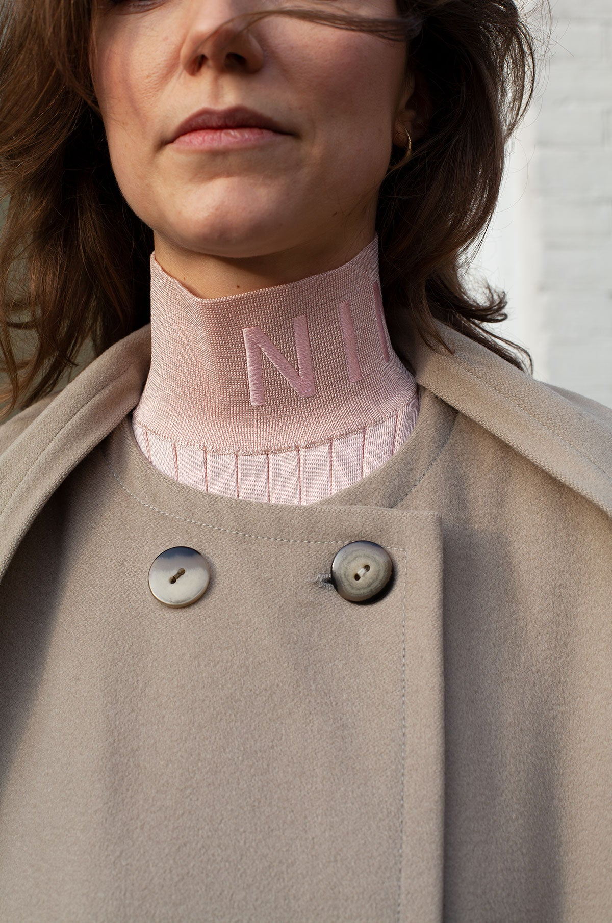 Nina Ricci Ribbed Turtleneck Light Pink