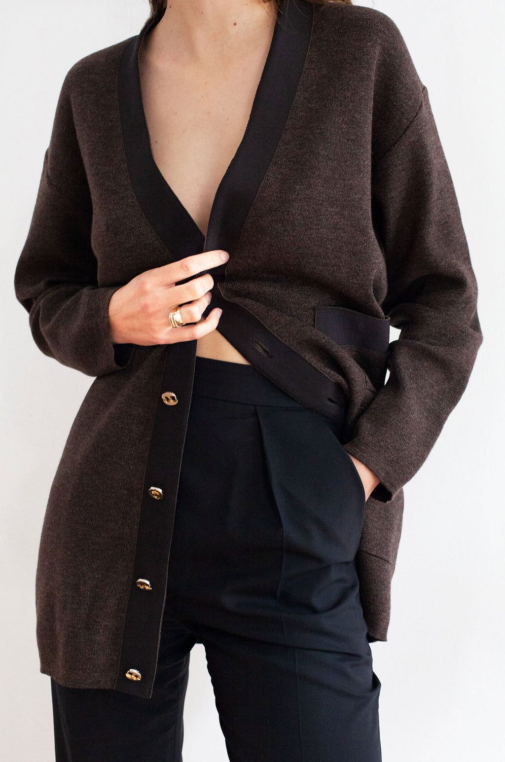Salvatore Ferragamo Classic Brown Cardigan
