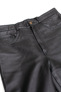 Versace Vintage Black Leather Trousers