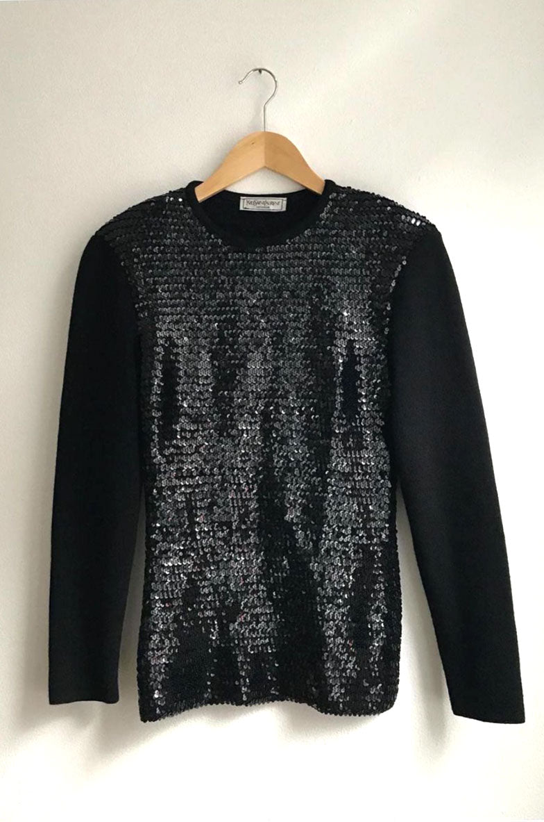 Yves Saint Laurent Vintage Black Sequin Top