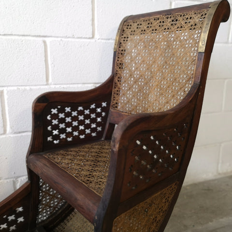 Antique Chinese Wood and Rattan Double Chair