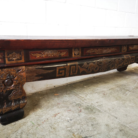 Long Low Carved Chinese Heavy Wood Bench