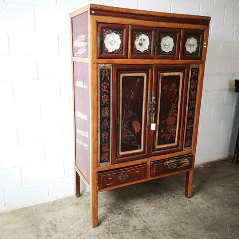 Chinese Antique Cabinet with Writing