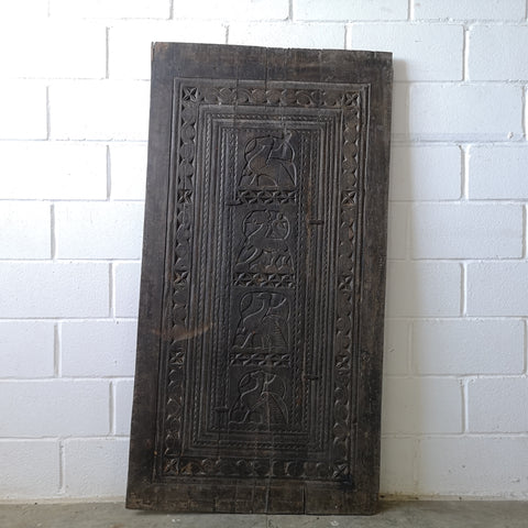Carved India Dark Wood Panel