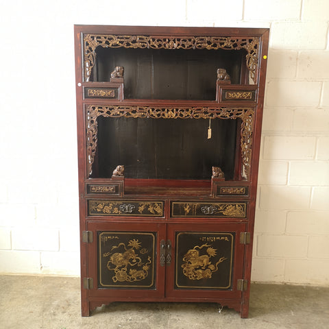 Carved Antique Chinese Bookshelf