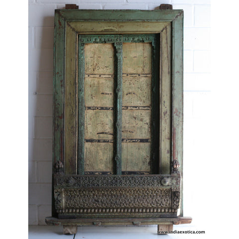 Rare Carved Indian Window with Balcony Green