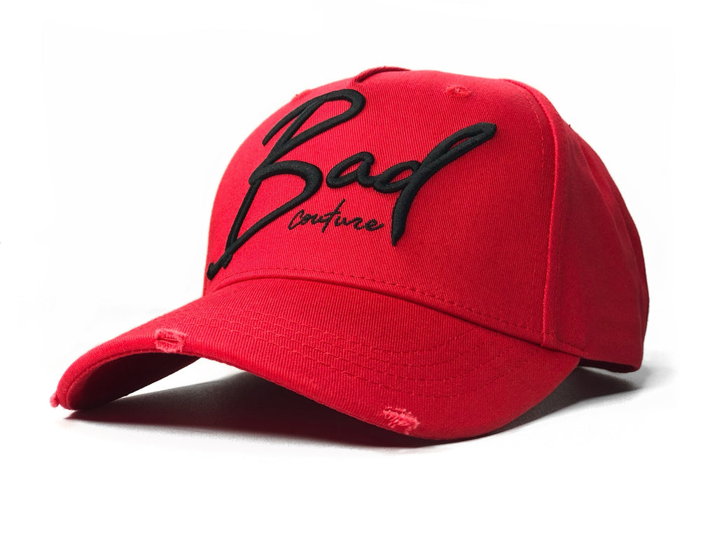Red Italic Baseball Hat - BAD Couture