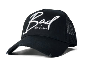 Black & White Italic Trucker - BAD Couture