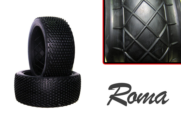 Hot Race - 1/8 Competition Tyres + Inserts - Pair - Roma
