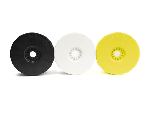 Hotrace 1/8 Buggy Wheels - Carbon/White/Yellow - Pair