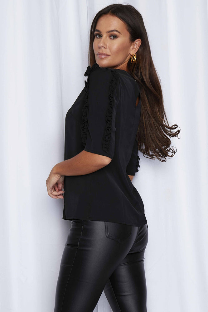 Luna Ruffle Sleeve Top  - Black