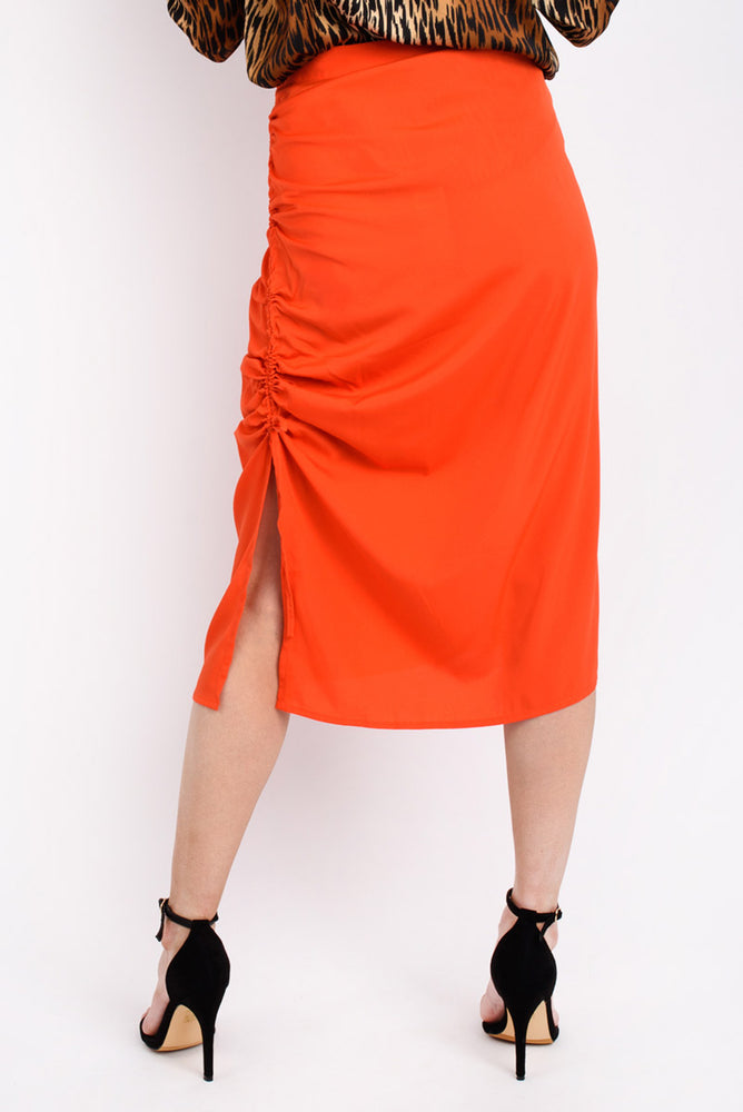 Tania  Ruched Midi Skirt