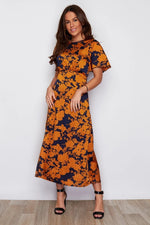 Gold Floral Angel Sleeve Midi Dress