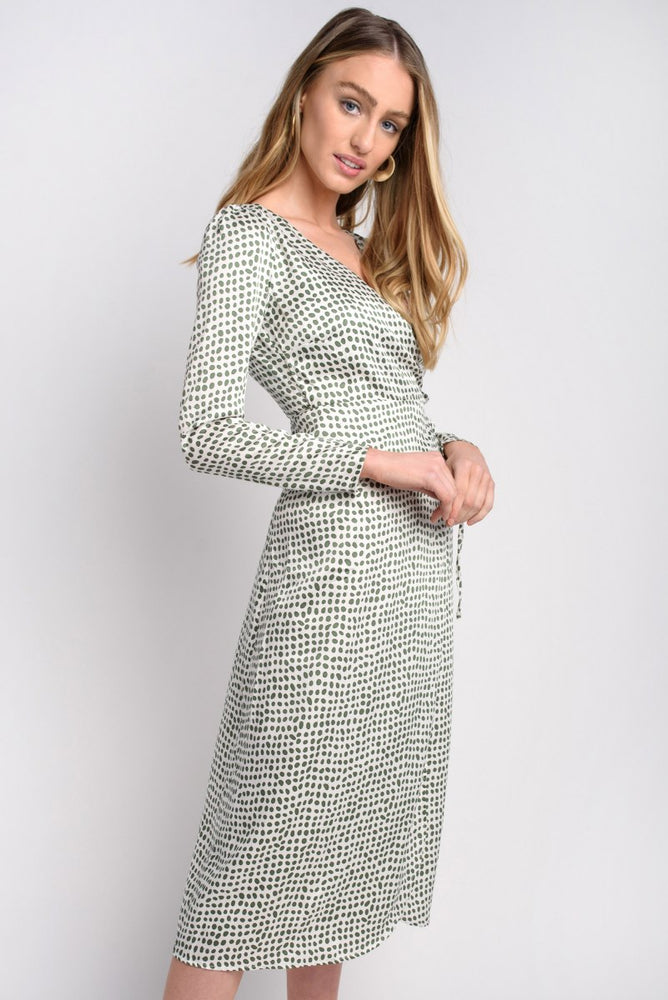 Green Spot Wrap Midi Dress