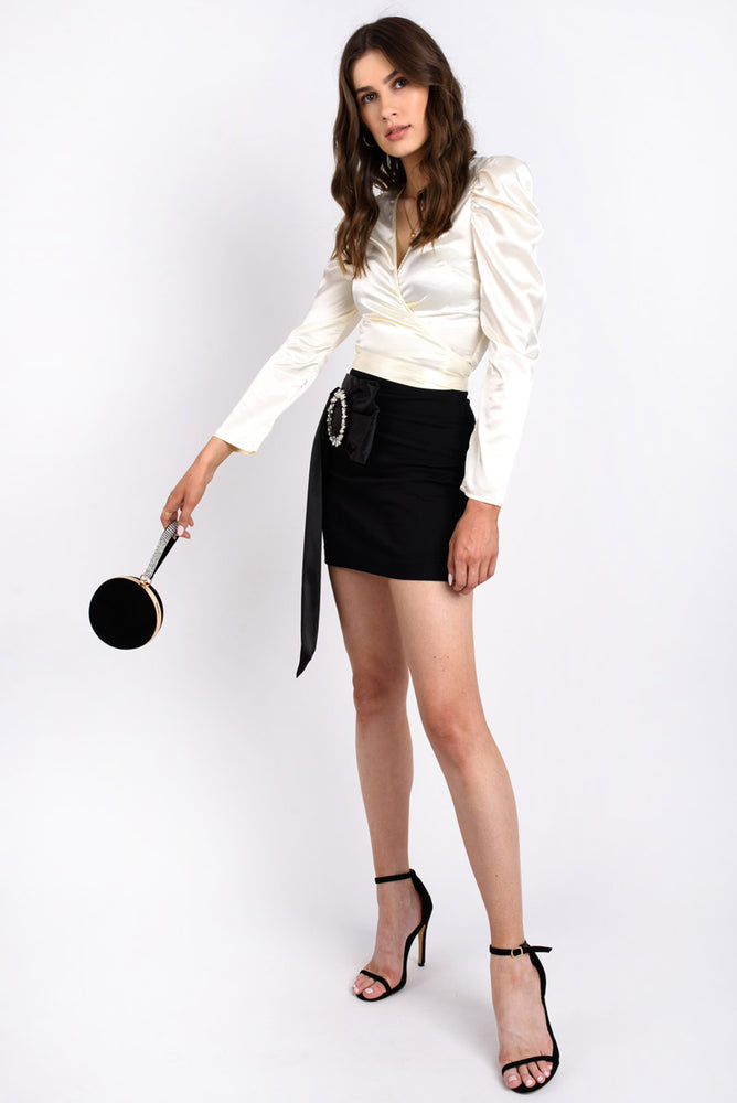 Puff Shoulder Satin Blouse