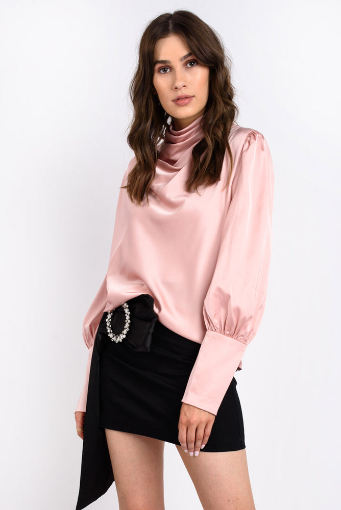 Pink Long Sleeve Satin Blouse