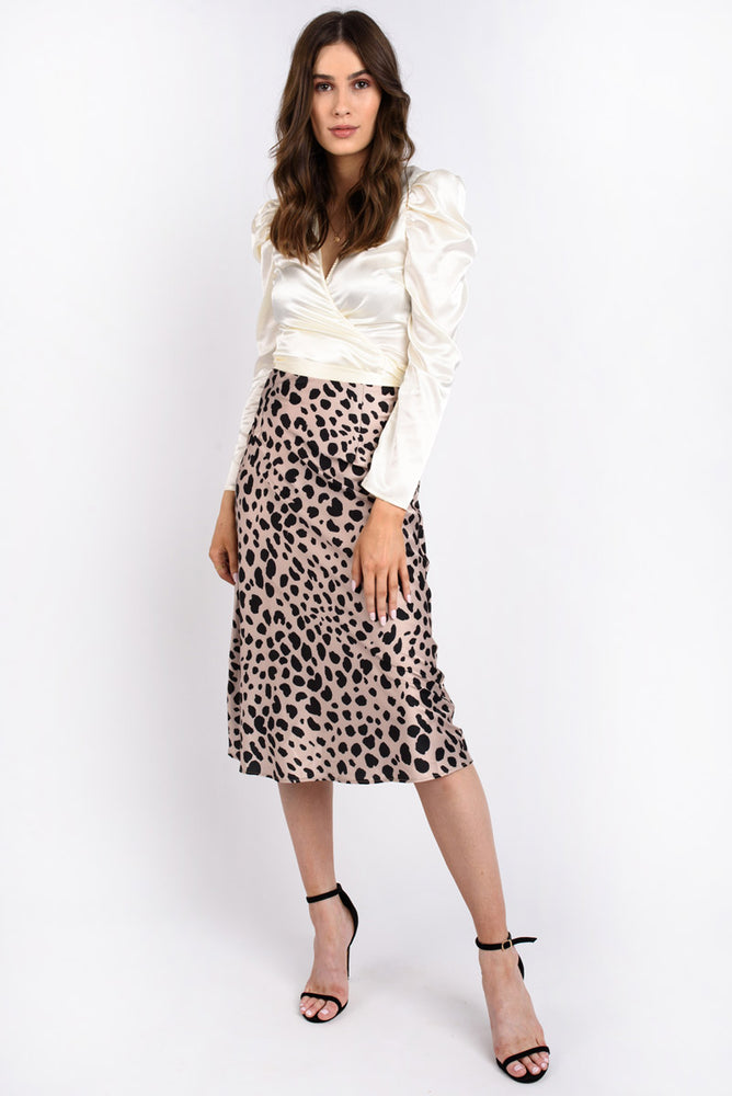 Animal Print Midi Slip Skirt