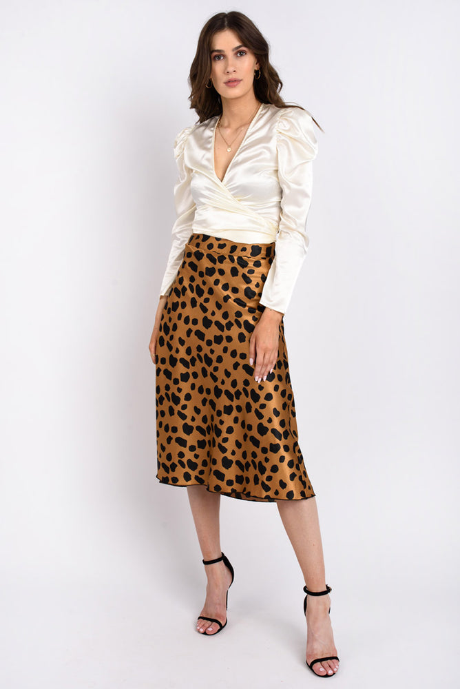 Satin Leopard Slip Skirt