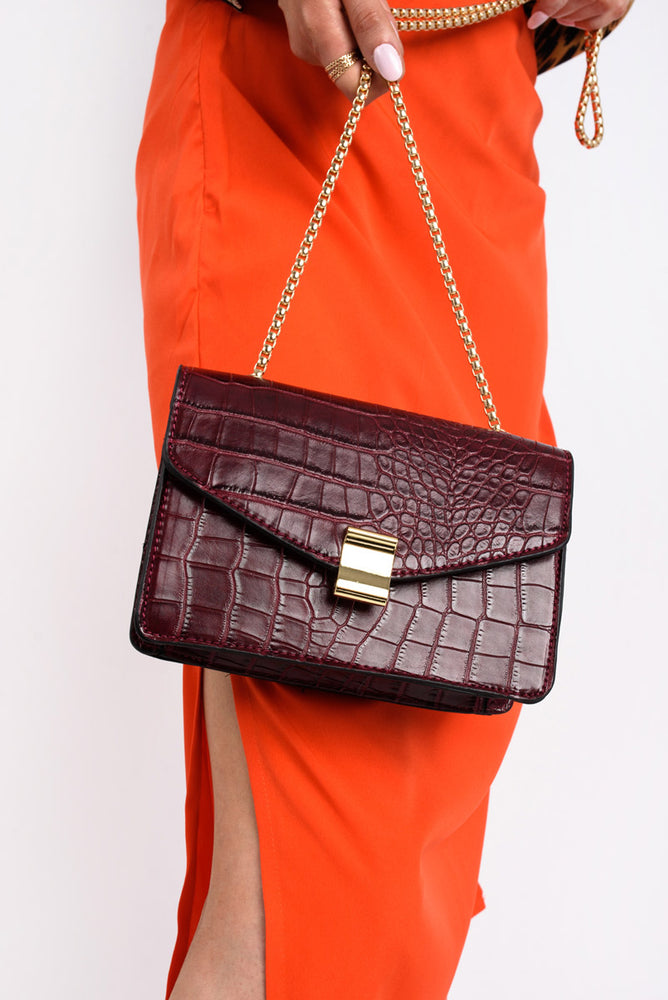 Faux Croc Shoulder Bag