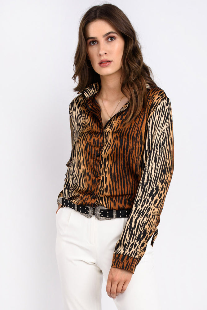 Satin Tiger Print Blouse