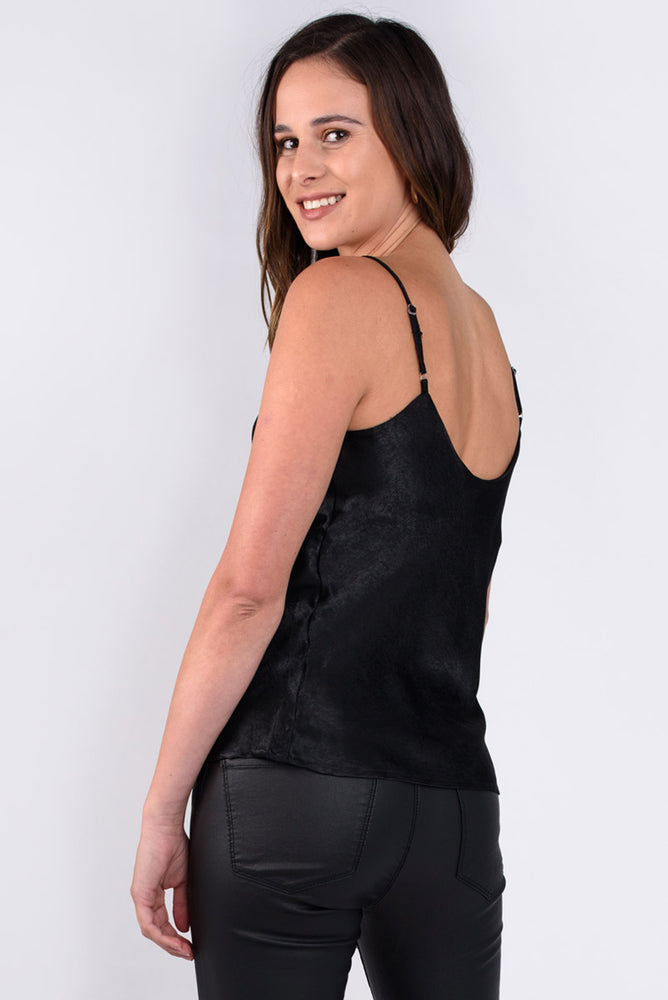 Black Satin Cowl Neck Cami