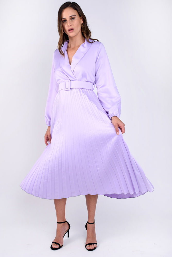 Lilac Pleated Midi Dress