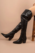 Black Croc PU Thigh High Block Heel Boots