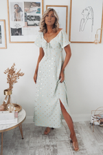 Siena Off-the-Shoulder Mint Midi Dress