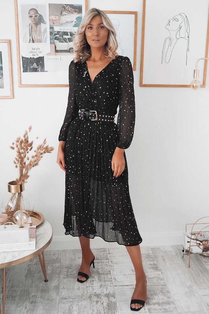 Eva Black Star Sheer Midi Dress