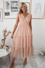 Gracie Peach Lace Midi Dress
