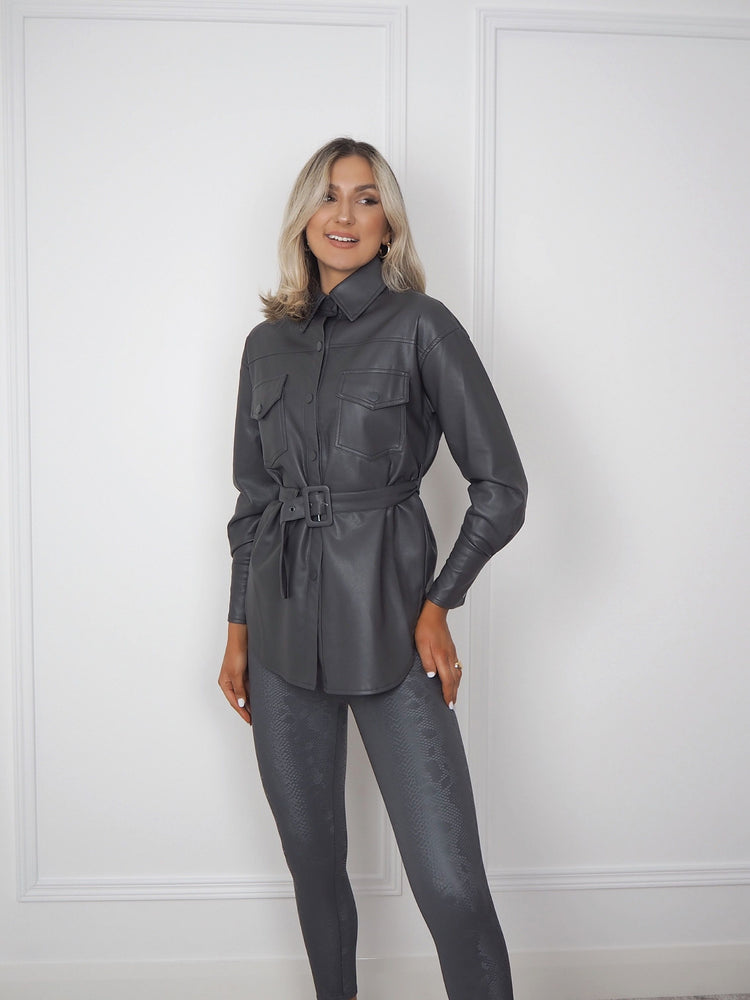 Grey Faux Leather Belted Shirt