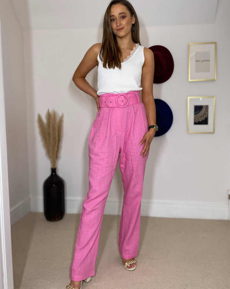 Hot Pink Trousers with Belt