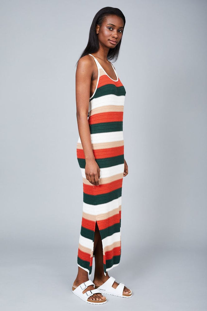 Native Youth Rust Criss Cross Strap Crochet Knitted Midi Dress